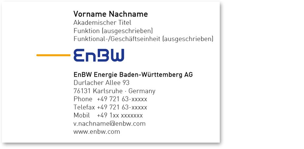 EnBW Corporate Design Net – Visitenkarten